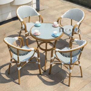Bộ bàn tròn ngoài trời 4 ghế nệm dây đan nhựa