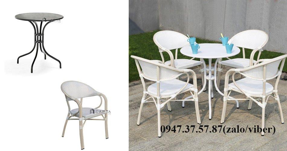Bộ bàn ghế ngoài trời 4 ghế vải lưới màu trắng đẹp sang trọng
