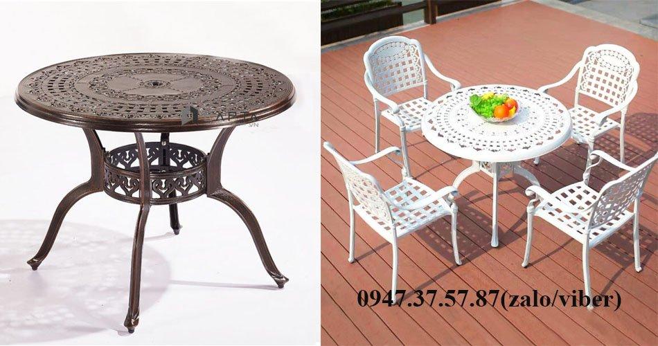 Bộ bàn ghế nhôm đúc ngoài trời 4 ghế màu trắng đẹp