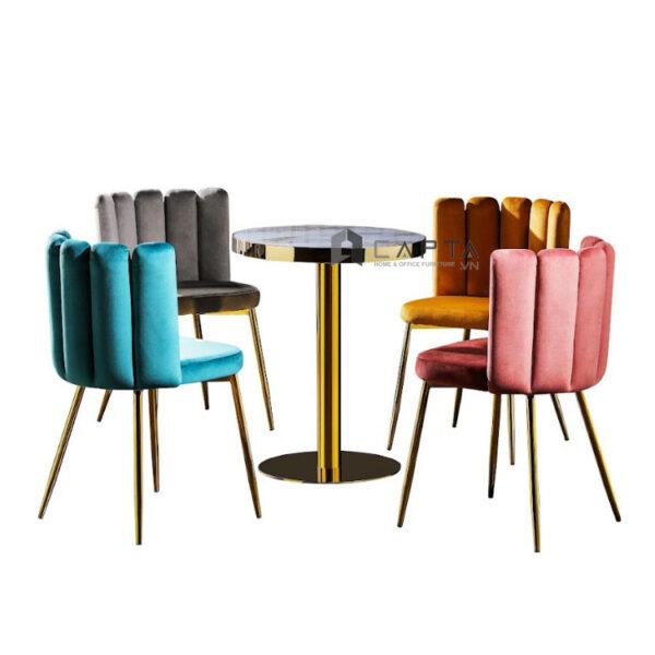Bộ bàn tiếp khách sang trọng 4 ghế vải nhung