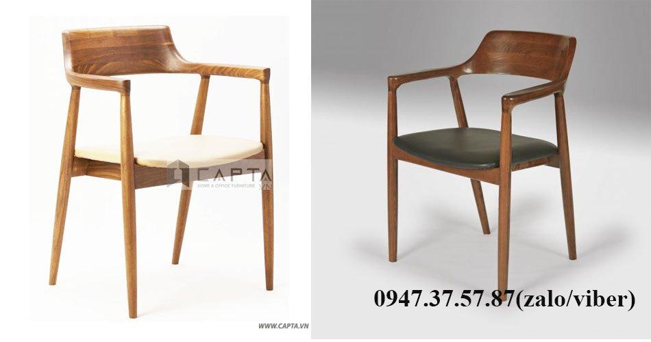 Ghế ngồi làm việc gỗ có tay tựa nệm simili cao cấp HIROSHIMA