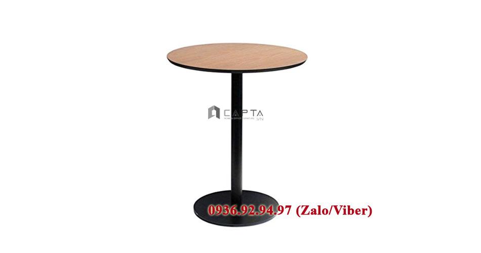Bàn cafe chân sắt mặt gỗ trònTE1530-06W