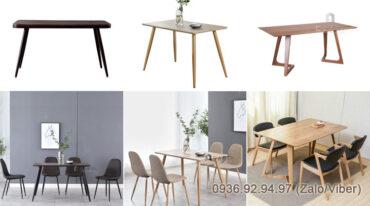 Phòng bếp mộc mạc với bàn ăn chân sắt mặt gỗ 1m2