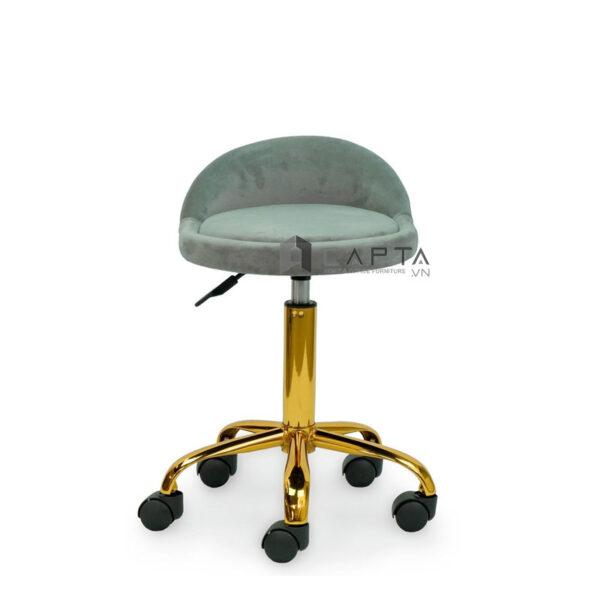 Ghế kỹ thuật viên spa chân mạ màu vàng có bánh xe